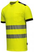 Tričko HiVis PW3 BA/PES krátký rukáv segmentované vodorovné reflexní pruhy HV žluté