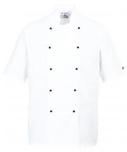 Kuchařský rondon PW KENT CHEFS dvouřadý nasouvací knoflíky krátký rukáv bílý