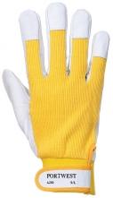 Rukavice PW TERGUS kombinovaná jemná vepřovice v dlani a prstech přetažená přes nehty s bavlněnou tkaninou žluto/šedá